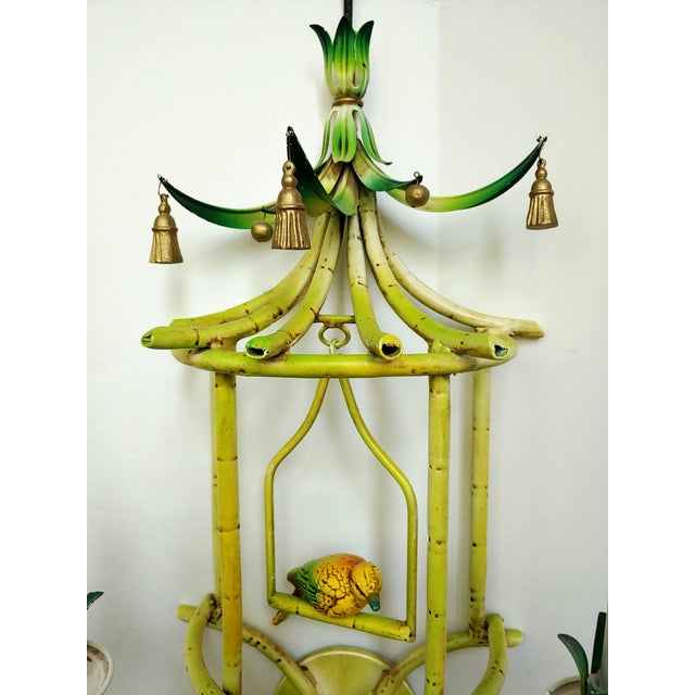 Chelsea House Inc Faux Bamboo Tole Pagoda With Songbird Sconces - a Pair For Sale - Image 4 of 10