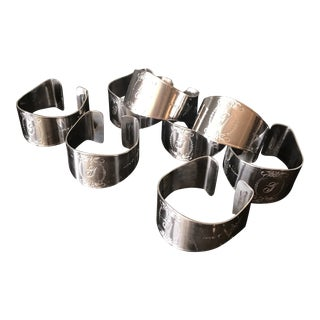 """""""g"""" Monogrammed Silver Plated Napkin Holders - Set of 8 For Sale"""