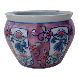 Vintage Chinoiserie Floral Porcelain Cachepot