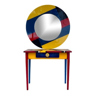 Memphis Style Postmodern Abstract Art Console Desk and Mirror For Sale
