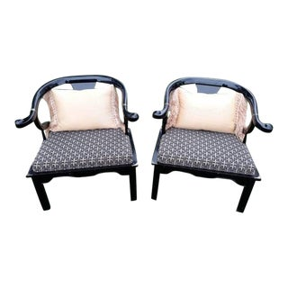1960s Vintage Century Furniture Chin Hua Ming Horseshoe Chairs- A Pair For Sale