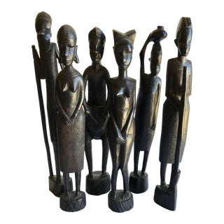 Handcrafted African Statues - Set of 6