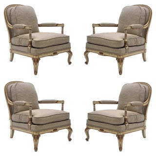 Rare Neoclassical Set of 4 Armchairs Signed by Maurice Hirsch, 1970s For Sale