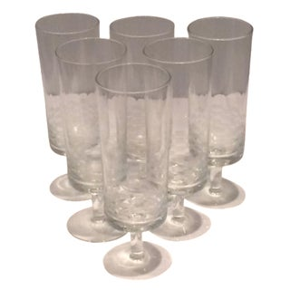 MCM Geometric Etched Champagne Flute Set - 6 For Sale