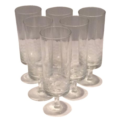 MCM Geometric Etched Champagne Flute Set - 6 - Image 1 of 8