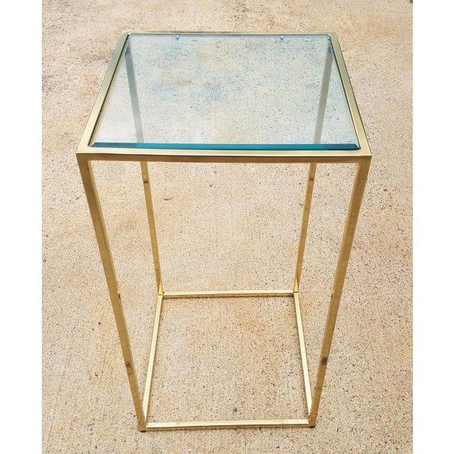 Brass Milo Baughman Style Brass & Glass Pedestal Art Stand For Sale - Image 7 of 7