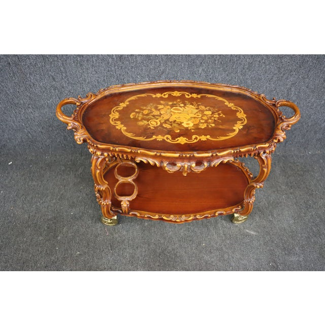 Italian Style Carved and Inlaid Bar Cart For Sale - Image 4 of 9