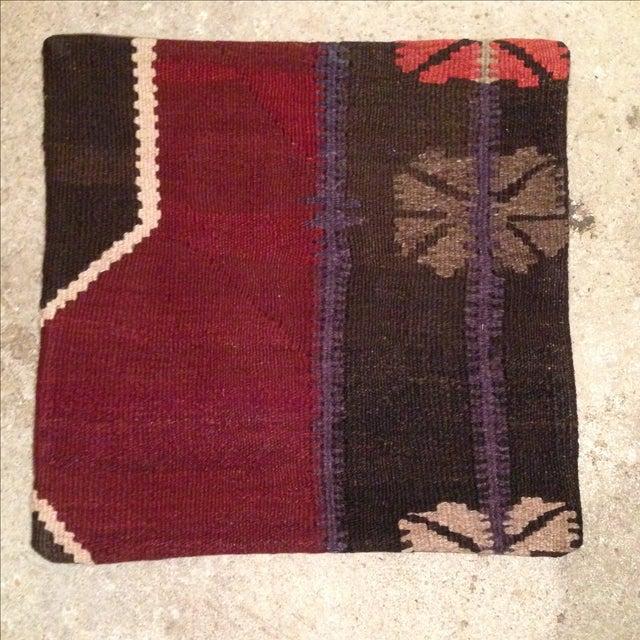 Vintage Maroon & Brown Kilim Pillow Case - Image 2 of 5