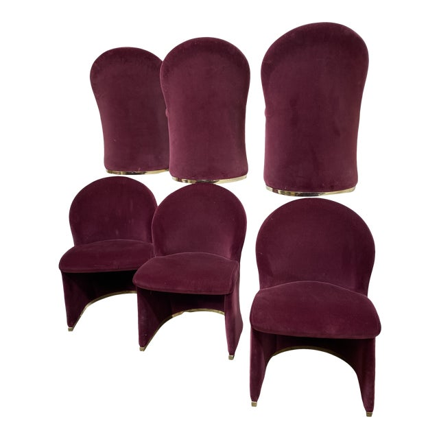 Contemporary Velvet & Brass Dining Chairs - Set/6 For Sale