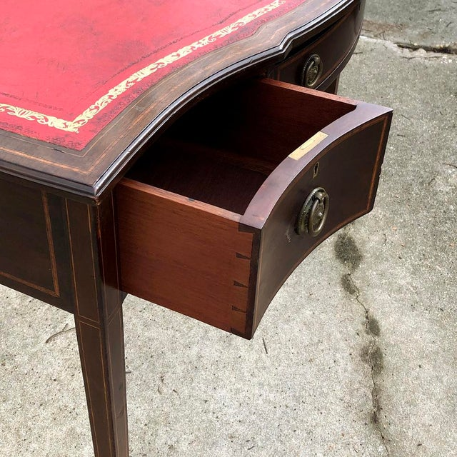 Oxblood Red Writing Table, Edwardian Period English in Mahogany With Leather Top For Sale - Image 8 of 12