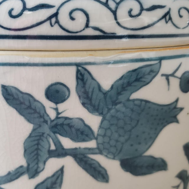 Lidded Chinoiserie Vessel With Fruit Motif For Sale - Image 4 of 9