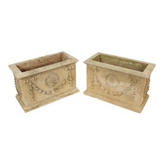 1980s Vintage Neo Classical Cast Stone Planters- A Pair For Sale