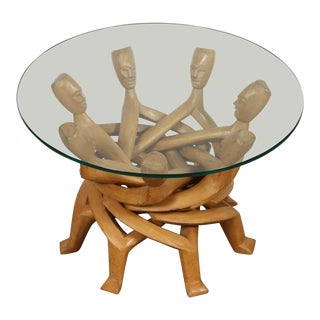 1950s African Folding Tribal Glass Table For Sale
