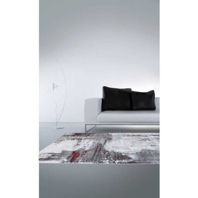 """Contemporary Gray & Red Abstract Rug - 6'7"""" x 9'7"""" - Image 6 of 8"""