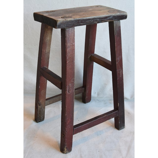 Early 20th Century Rustic Primitive Country Wood Farmhouse Stool For Sale - Image 5 of 9