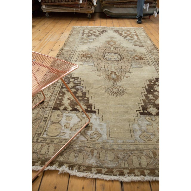 "Vintage Distressed Oushak Rug Runner - 4'9"" x 10'2"" For Sale - Image 9 of 11"