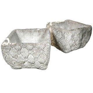 "1960s Vintage Cast Stone ""Tufted"" Planters- a Pair For Sale"