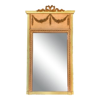 1920s Antique French Trumeau Wall Gilt & Paint Mirror For Sale