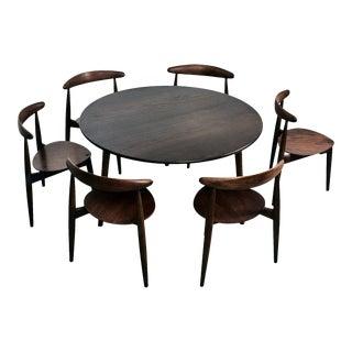 1950s Danish Modern Hans Wegner for Fritz Hansen Heart Dining Set - 7 Pieces For Sale