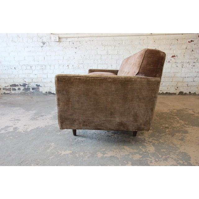 Wood Baker Furniture Mid-Century Tufted Brown Velvet Sofa For Sale - Image 7 of 12