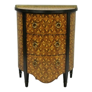 Monarch Century Furniture Marquetry Inlay Half Round Demilune Commode Chest For Sale