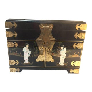 Black Lacquered Chinese Jewelry Box With Mother-Of-Pearl Overlay For Sale