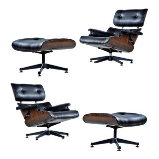 Vintage Walnut Eames Lounge Chair and Ottoman Replica Set in Black Leather For Sale