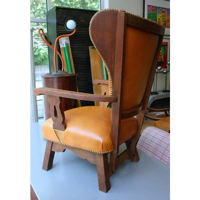 Unusual Exposed Wood Wing Chair With Carved Detail and Leather Upholstery For Sale - Image 4 of 6