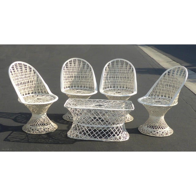 Four Spun Fiberglass White Chairs & Coffee Table by Russell Woodard Patio Set - Image 4 of 11