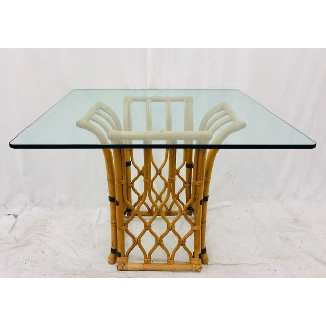 Rattan & Glass Table For Sale - Image 10 of 10
