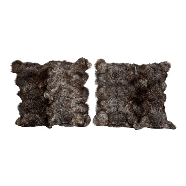 Ultra Luxe Fox Fur Pillows in Hues of Grey For Sale