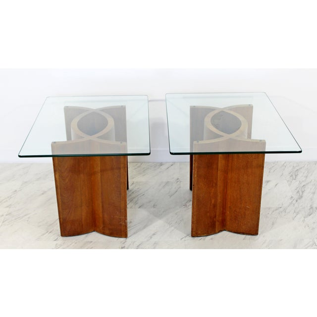 Wood Mid Century Modern Sculptural Wood Glass End Tables - a Pair For Sale - Image 7 of 11