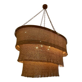 Three Tier Woven Bead Chandelier For Sale