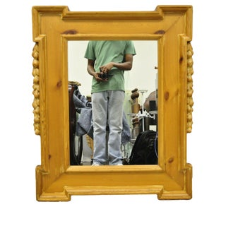 Vintage Italian Baroque Style Country French Carved Knotty Pine Wood Wall Mirror For Sale