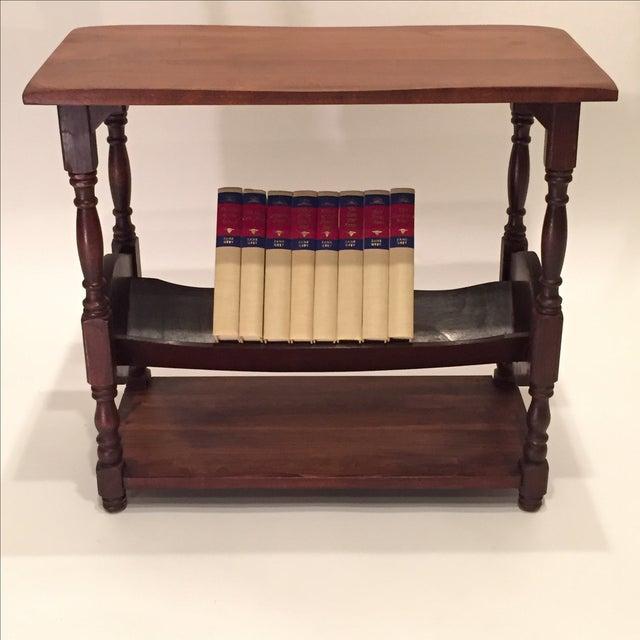 Vintage Walnut Bookshelf Side Table - Image 2 of 8