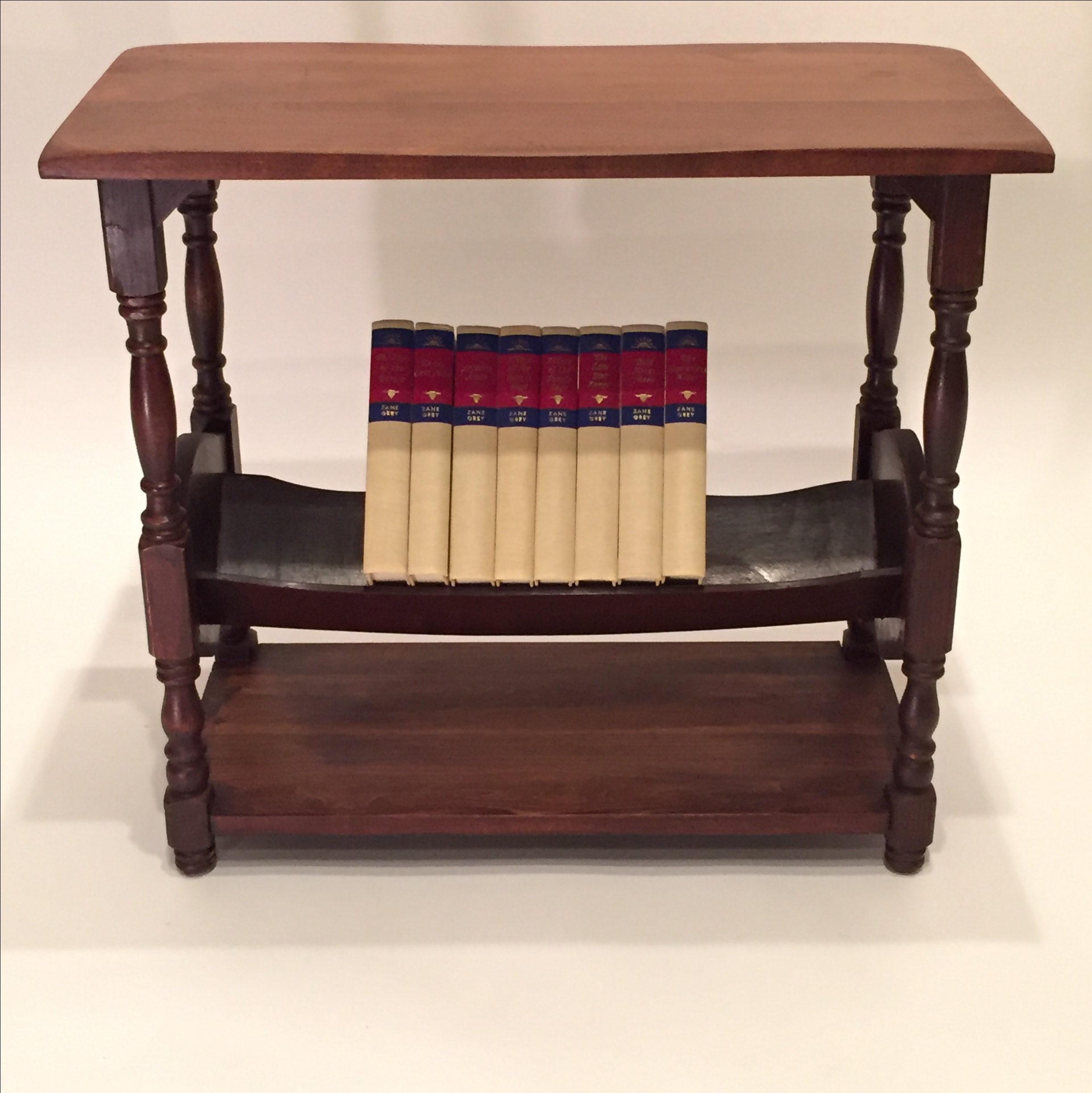 Charming Rustic Side Table With Lower Bookshelf. Books Not Included.  English Style Walnut.
