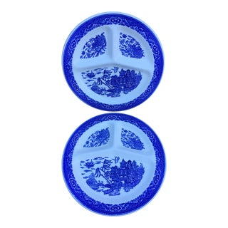 Vintage Willow Ware Divided Plates - Set of 2 For Sale