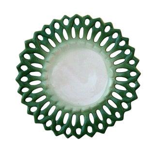 Vintage Portuguese Majolica Ceramic Green Platter