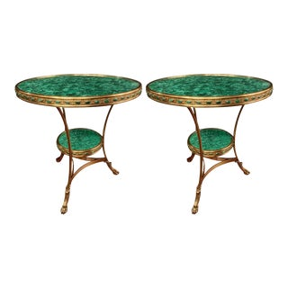 Russian Gilt Bronze and Malachite Gueridon or Bouilliotte End Table - a Pair For Sale