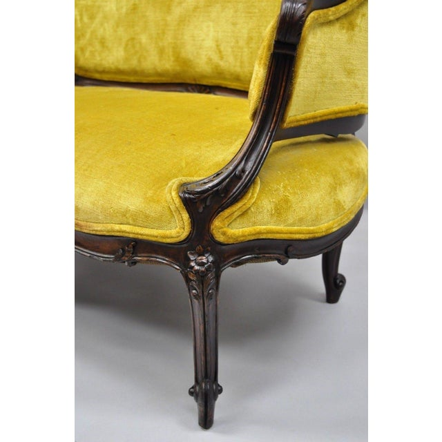 Early 20th Century Antique French Louis XV Style Finely Carved Mahogany Settee Loveseat For Sale - Image 5 of 11