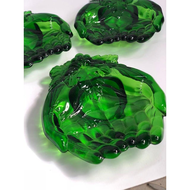 Vintage Green Molded Glass Dishes, 1960s, Set of Five For Sale - Image 6 of 11