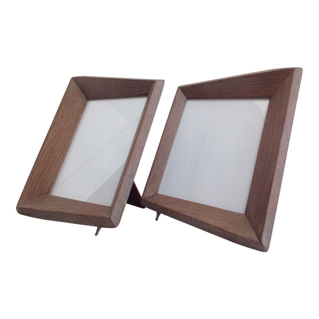 1940's Cerused Oak Modern Picture Frames - a Pair For Sale