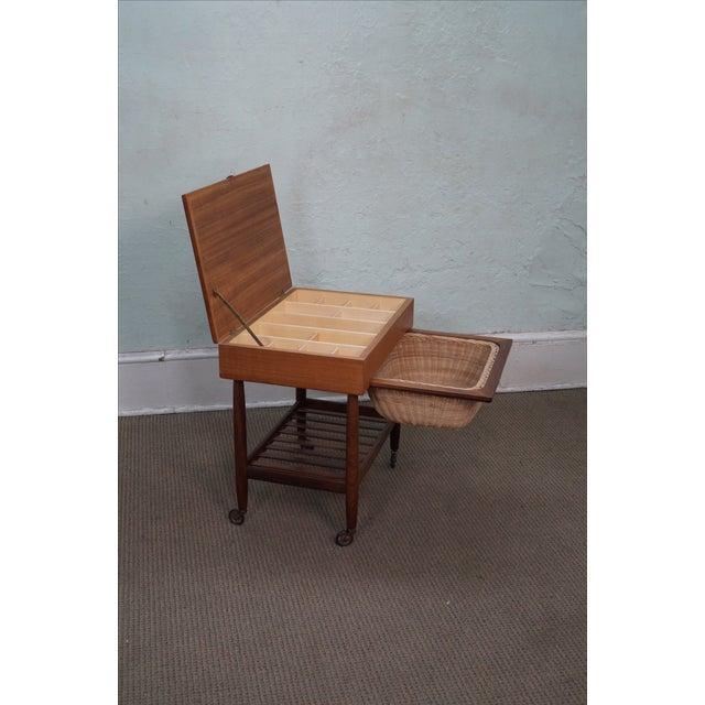 Vitre Vintage Danish Modern Teak Sewing Cart - Image 3 of 10
