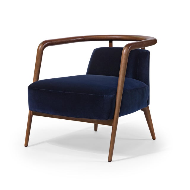 Not Yet Made - Made To Order Contemporary Mid Century Style Scandinavian Modern Walnut Lounge Chair For Sale - Image 5 of 6