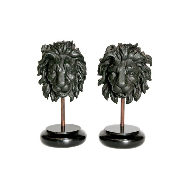 Early 19th Century Pair of Carved Wood Lion Heads For Sale - Image 13 of 13