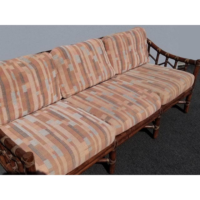 Vintage McGuire Furniture Company Rattan Sofa With Leather Rawhide Ties For Sale In Los Angeles - Image 6 of 13