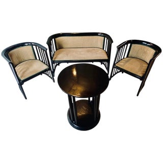 Art Deco Josef Hoffmann Secession Suite Loveseat Two Chairs and Small Table For Sale