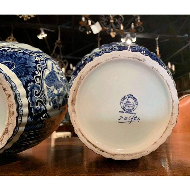White Mid-20th Century Dutch Blue and White Royal Maastricht Delft Ginger Jars-a Pair For Sale - Image 8 of 9