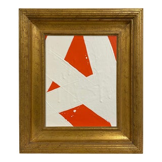 Ron Giusti Mini Abstract Orange Cream Painting, Framed For Sale