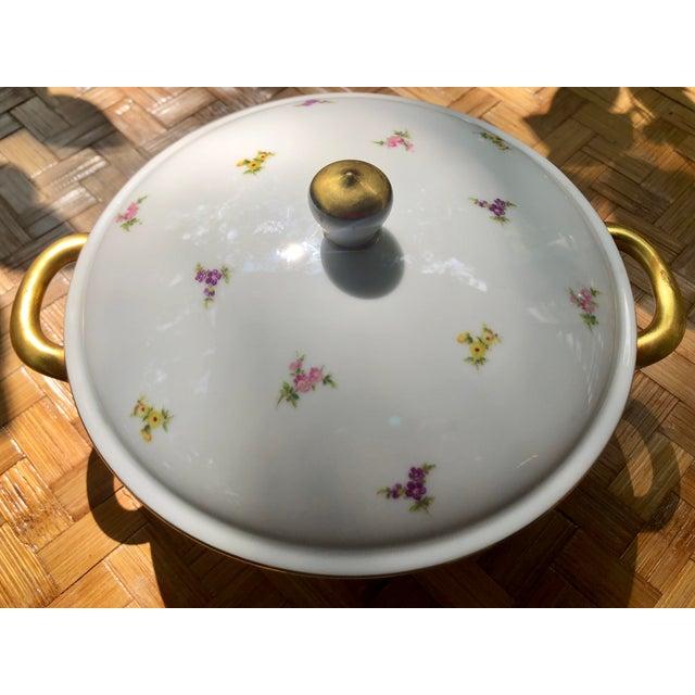 """Cottage Haviland """"Rose Chintz"""" Gilt Floral Porcelain Vegetable Tureen For Sale - Image 3 of 12"""